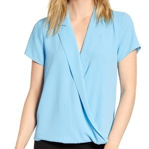 VINCE CAMUTO Notch Collar Wrap Front Blouse NWT